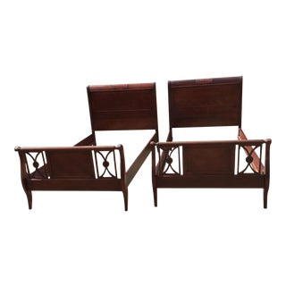 Mahogany Twist Carved Twin Beds - a Pair For Sale