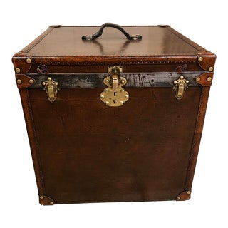 1910s Vintage Leather Trunk For Sale