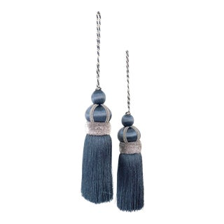 """Pair of Slate Blue Key Tassels With Cut Ruche -Tassel Height - 5.75"""" For Sale"""