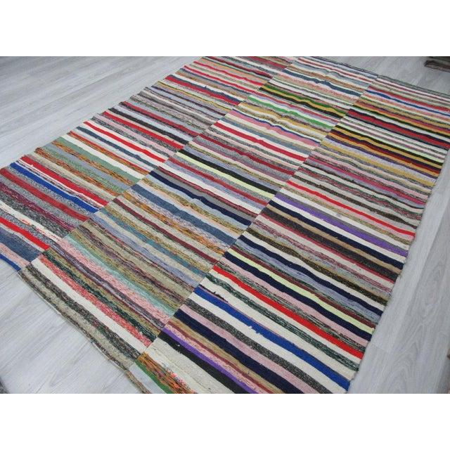 1960s Vintage Striped Turkish Rag Rug - 7′9″ × 11′ For Sale - Image 4 of 6