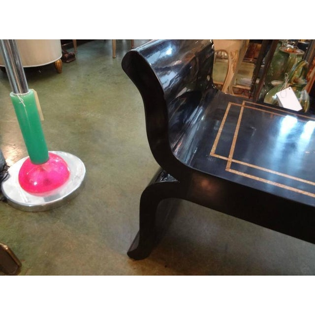 Black 1960's Vintage James Mont Style Hollywood Regency Black Lacquered Benches- A Pair For Sale - Image 8 of 10