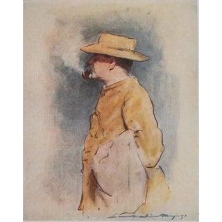 1901 Rudyard Kipling by Mortimer Menpes, Original Lithograph For Sale