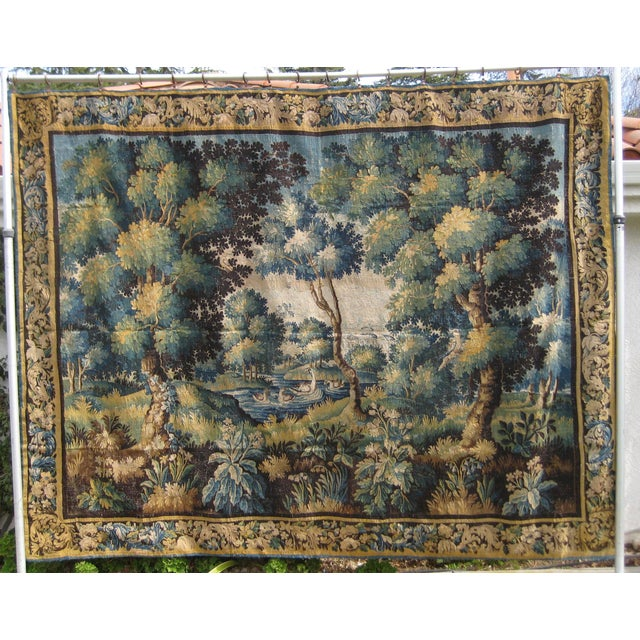 18th Century Flemish Verdure Tapestry Wall Hanging For Sale - Image 13 of 13