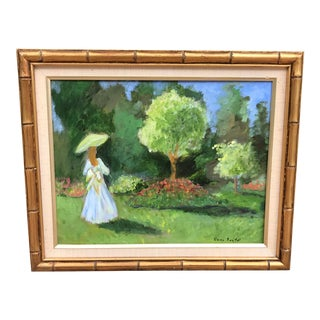 Late 20th Century Painting of a Blonde Girl With a Parasol For Sale