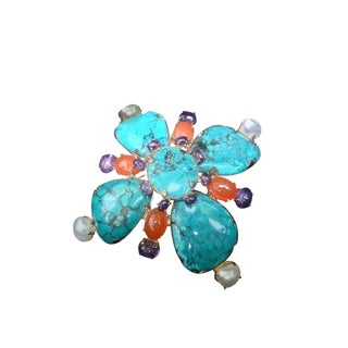Spectacular Jeweled Semi Precious Massive Sterling Brooch, 1999 For Sale
