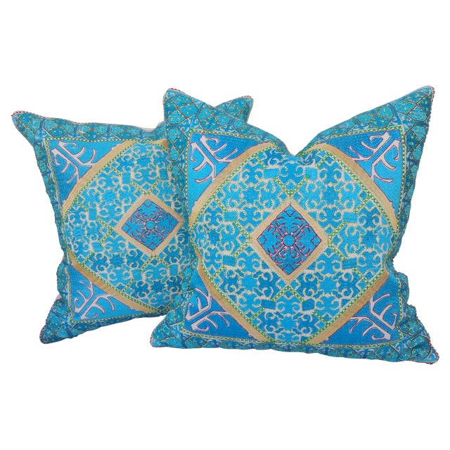 Vibrant Silk Embroidered Pillow - Pair - Image 1 of 5