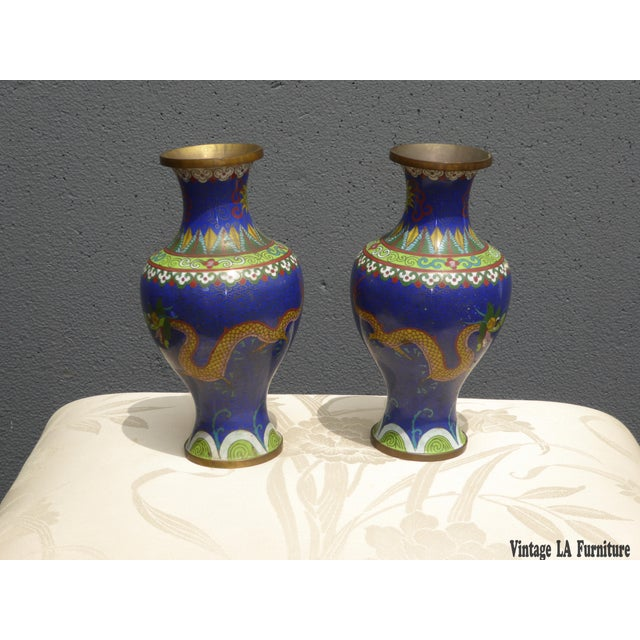 Vintage Chinese Cloisonne Brass Painted Blue Dragon Vases - A Pair - Image 2 of 11