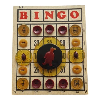 Bingo Card With Bakelite & Lucite Buttons