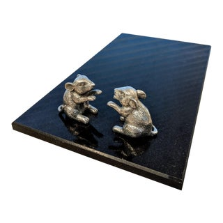 Black Granite Cheese Board With Pewter Mice For Sale