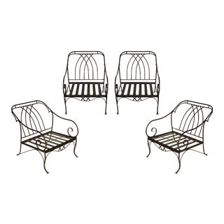 Set of Four Salterini Style Patio Lounge Chairs For Sale