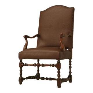 Restored 18th C. Antique French Leather Throne Chair For Sale
