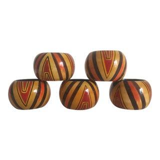 Vintage Hand Painted Wood Napkin Rings - Set of 5