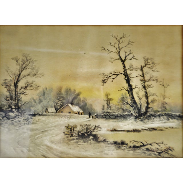 Antique Framed Mixed Media Country Landscape Scene For Sale - Image 11 of 13