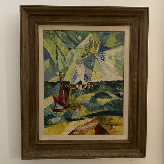 1960s Seascape Painting, Framed For Sale - Image 9 of 9