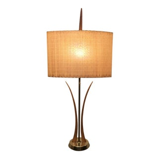 Vintage Mid-Century Modern Brass and Wood Table Lamp For Sale