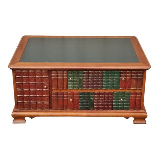 Classical Style Tooled Green Leather Top Library Book Form Coffee Table
