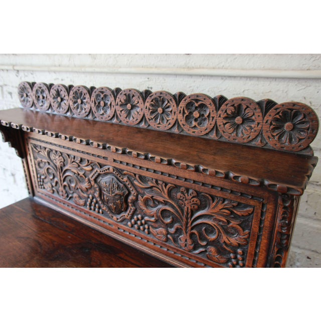 19th Century English Ornate Carved Oak Sideboard Bar Cabinet For Sale - Image 9 of 13