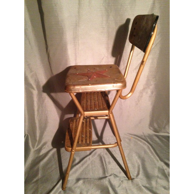 Americana Rustic Primitive Country Kitchen Metal Star Step Stool For Sale - Image 3 of 7