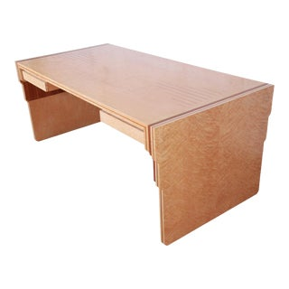 Pierre Paulin for Baker Furniture Bird's-Eye Maple and Walnut Inlay Art Deco Executive Desk, Newly Restored For Sale