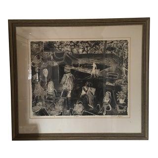 "Intaglio ""Tennis Club"" Wood Print For Sale"
