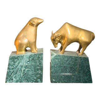 1960s Vintage Bear and Bull Brass Bookends- A Pair For Sale