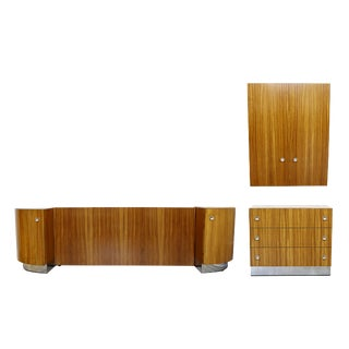 Milo Baughman Thayer Coggin Mid-Century Modern Wood Chrome 3 Pc. Queen Bedroom Set For Sale