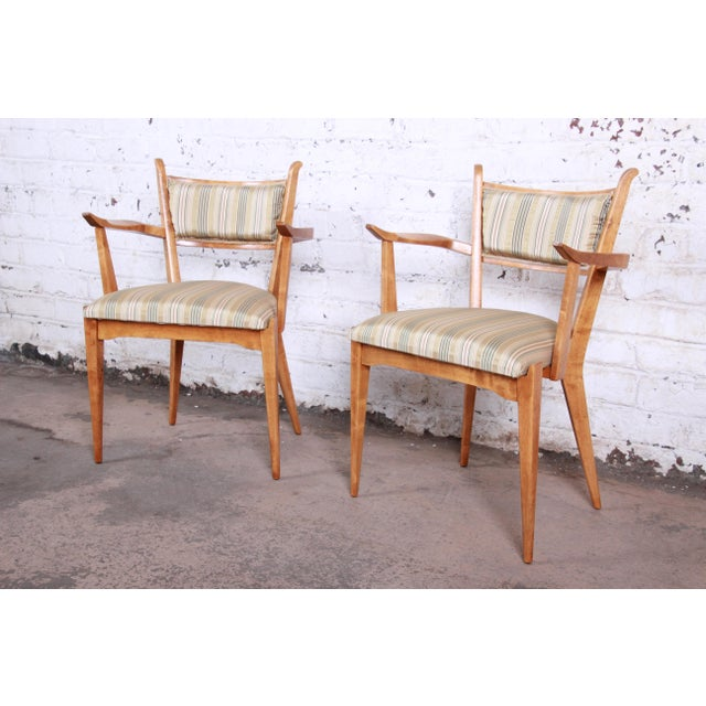Mid-Century Modern Edmond Spence Swedish Modern Sculpted Tiger Maple Armchairs - a Pair For Sale - Image 3 of 13