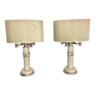 1960s Mid-Century Modern Table Lamps With John Richard Shades - a Pair For Sale