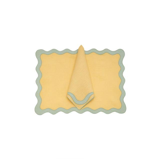 Textile Moda Domus x Chairish Exclusive Scalloped Linen Placemat + Napkin Colorblock Set For Sale - Image 7 of 9