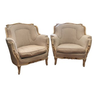 19th Century Vintage Linen Bergere Chairs - a Pair For Sale
