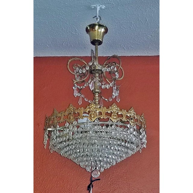 French 19c French Crystal Ormolu Chandelier For Sale - Image 3 of 8
