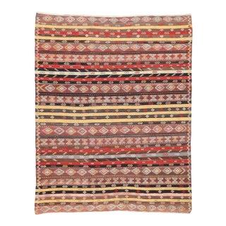 Vintage Embroidered Kilim Rug For Sale
