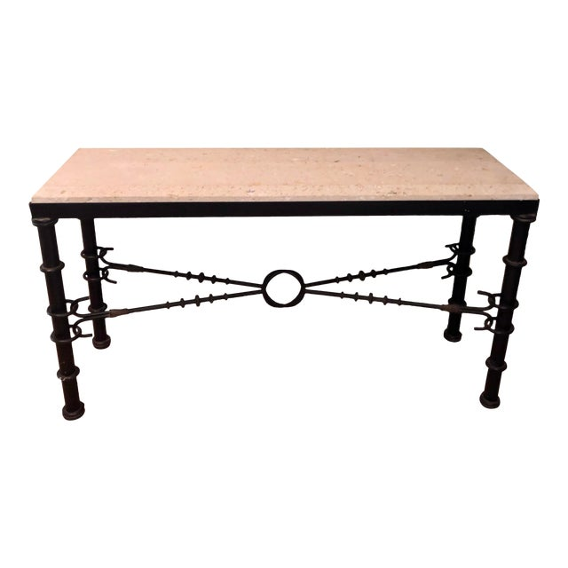 Giacometti Style Formations Texas Shell Stone Travertine Marble Console Table For Sale