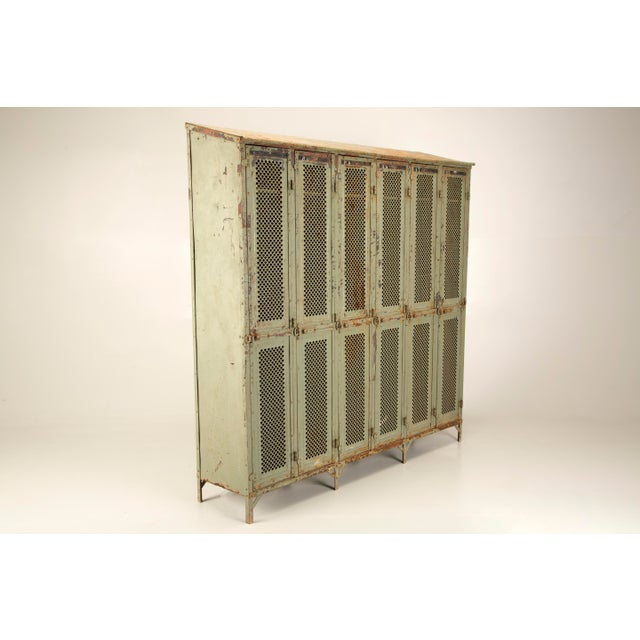 Metal Antique French Industrial Original Painted Lockers For Sale - Image 7 of 12