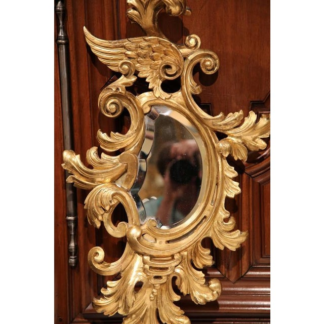 Rococo Mid-19th Century French Louis XV Carved Gilt Rococo Mirrors With Wings - A Pair For Sale - Image 3 of 9