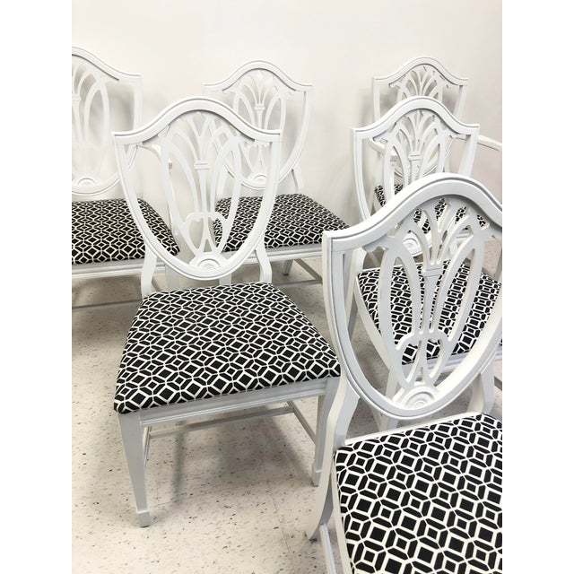 American Bernhardt Chippendale Style White Lacquered Dining Chairs - Set of 6 For Sale - Image 3 of 9
