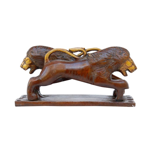 Hollywood Regency Red Brass Lion Door Handles - a Pair For Sale - Image 3 of 5