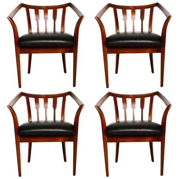 Mid-Century Modern Set of Four Custom Walnut Chairs For Sale