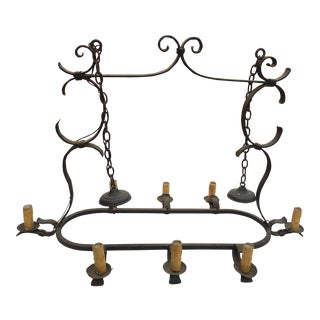 Rustic Wrought Iron Chandelier For Sale