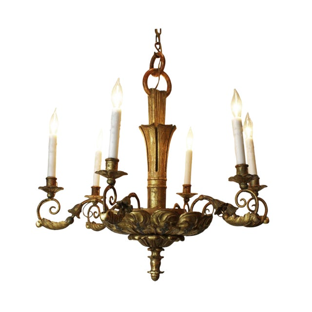19th Century Italian Giltwood Chandelier For Sale