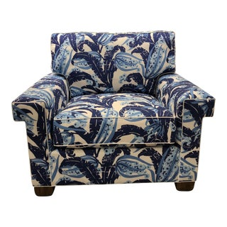 Scalamandre Blue Lounge Chair For Sale