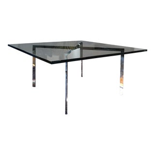 Barcelona-Style Glass X-Base Coffee Table For Sale