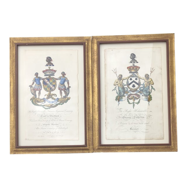 Framed Antique Engravings of Francis Seymour-Conway and George Lytteltons' Coat of Arms - a Pair For Sale