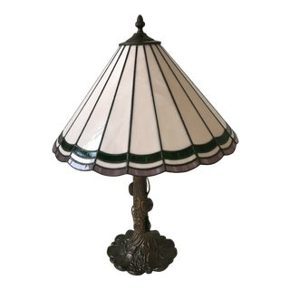 Mid-Century Leaded Glass Dichoric Lamp With Scalloped Metal and Glass Shade For Sale