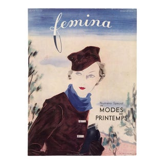 """Femina, April 1933"" Original Vintage French Magazine Cover For Sale"