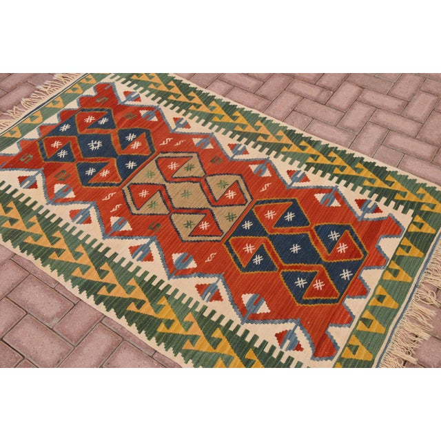"Islamic Vintage Turkish Hand Knotted Kilim Rug - 3'7"" x 5'7"" For Sale - Image 3 of 5"