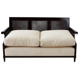 Madeline Stuart Regency Cane and Mahogany Settee For Sale