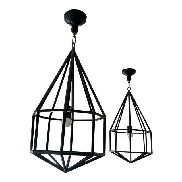 Contemporary Black Teardrop-Shape Lanterns - a Pair For Sale