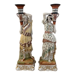 Antique European Porcelain Eastern Figural Candleholders For Sale