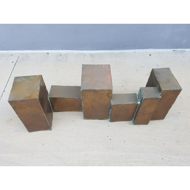 Rare Signed 1970's David Marshall Brutalist Copper Coffee Table, sold as found in vintage condition. Copper shows signs of...